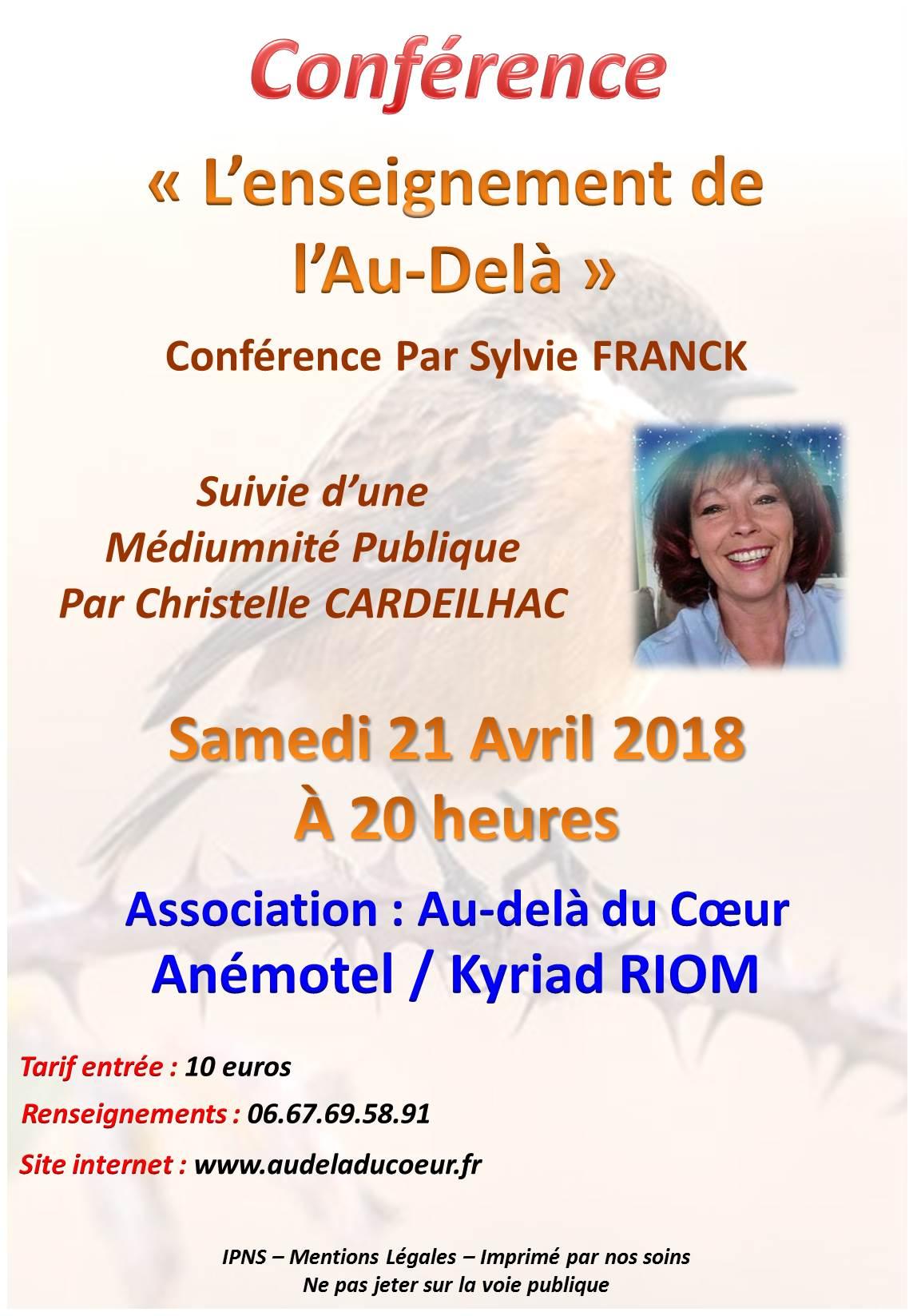Christelle Cardeilhac et Sylvie Franck – 21 avril 2018